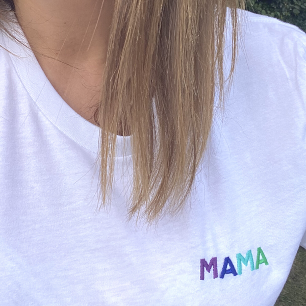 Rainbow Text Mama  Embroidered T-Shirt for Mummies