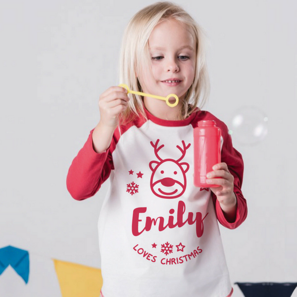 Personalised Christmas Baseball Top in Red and White