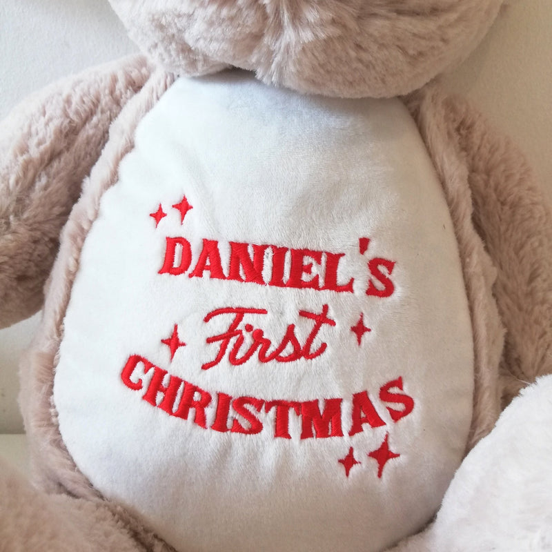 personalised embroidery first christmas
