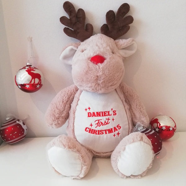 personalised first christmas reindeer