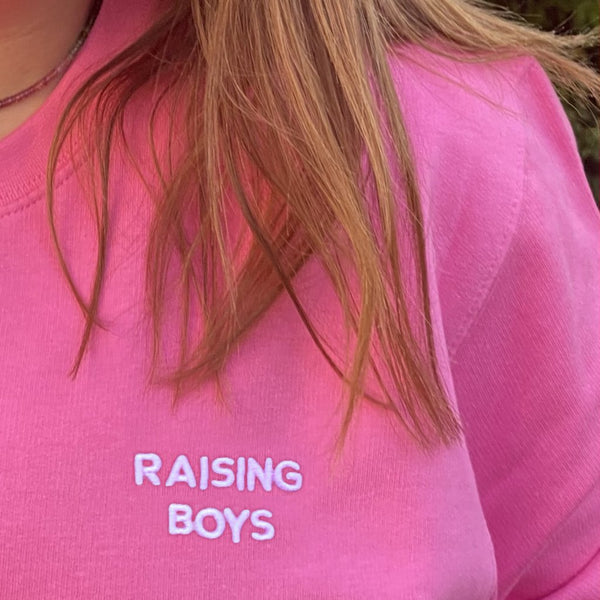 Raising Boys Embroidered Sweatshirt available in Candy Pink or Baby Blue