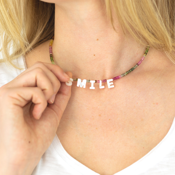Smile Mother of Pearl and Tourmaline Necklace