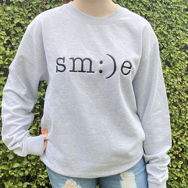 Black Smile Embroidered Grey Sweatshirt