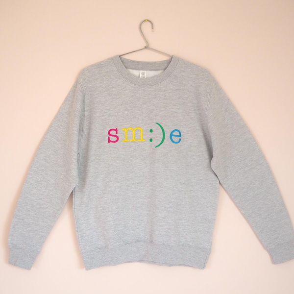Rainbow Smile Embroidered Grey Sweatshirt