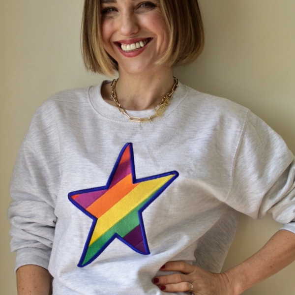 Embroidered Rainbow STAR Sweatshirt on Ash Grey