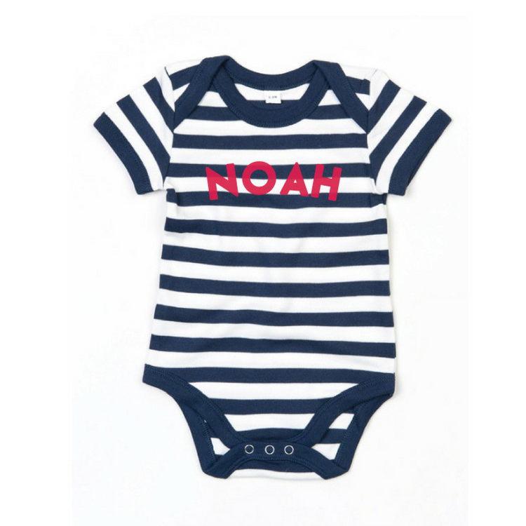 Personalised Stripy Bodysuit in Navy and White