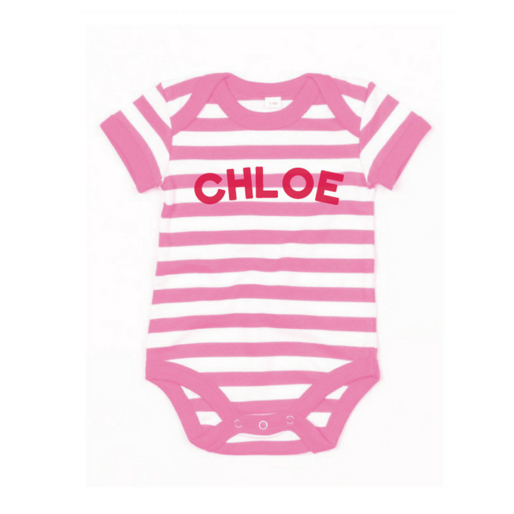 Personalised Stripy Bodysuit in Pink and White