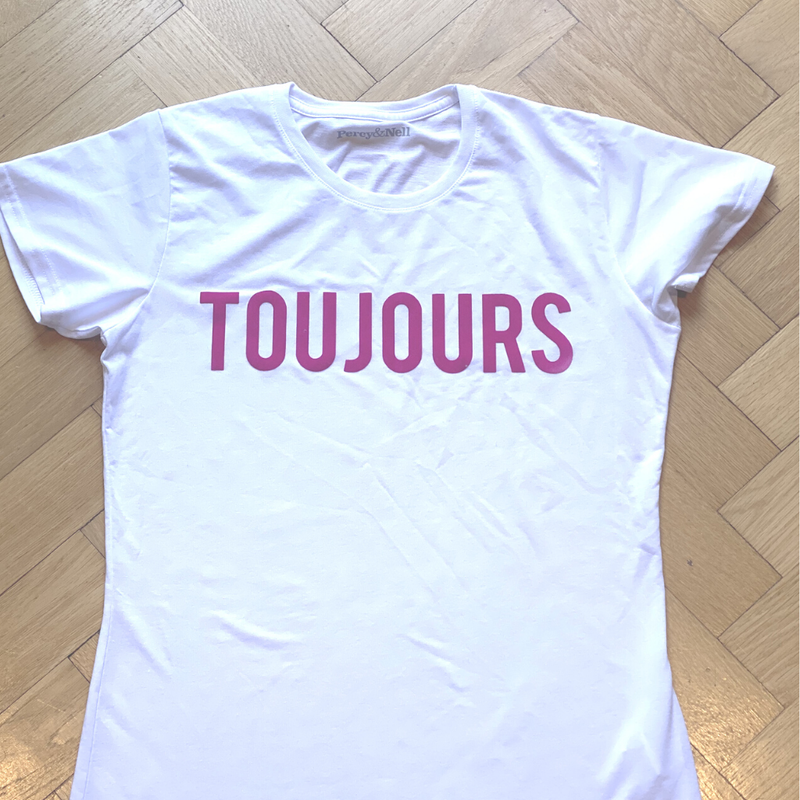 Toujours Printed White Organic T-Shirt Size Medium