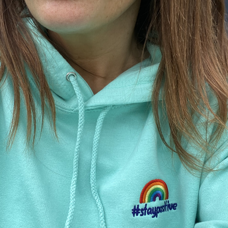 #staypositive aqua hoodie with NHS donation