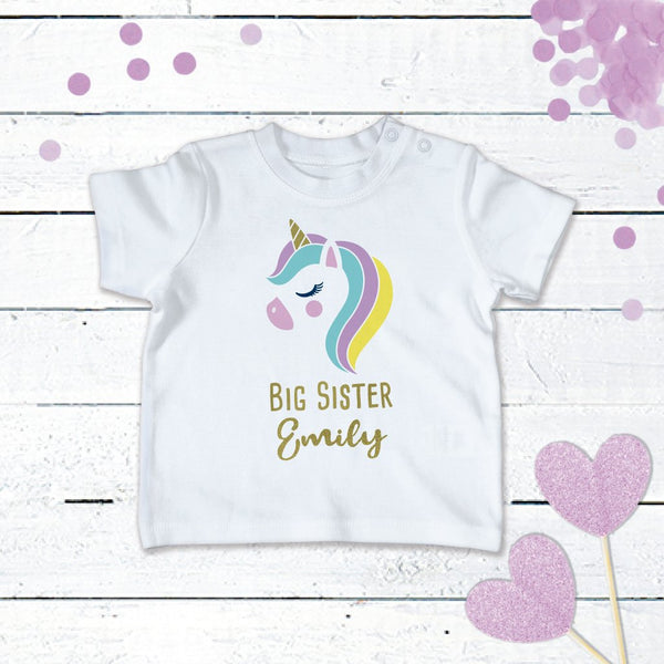 Personalised Unicorn T-Shirt For the Big Sister