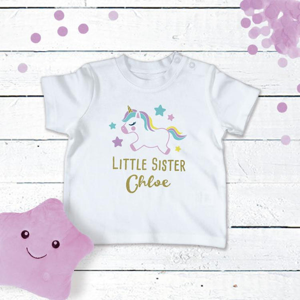 Personalised Unicorn T-Shirt For the Little Sister