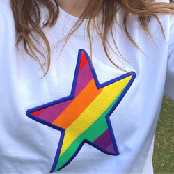 Embroidered Rainbow STAR White Sweatshirt