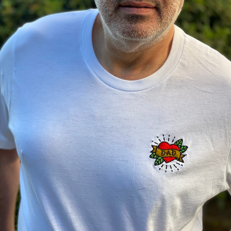Dad Embroidered White T-Shirt  - Perfect for Father's Day