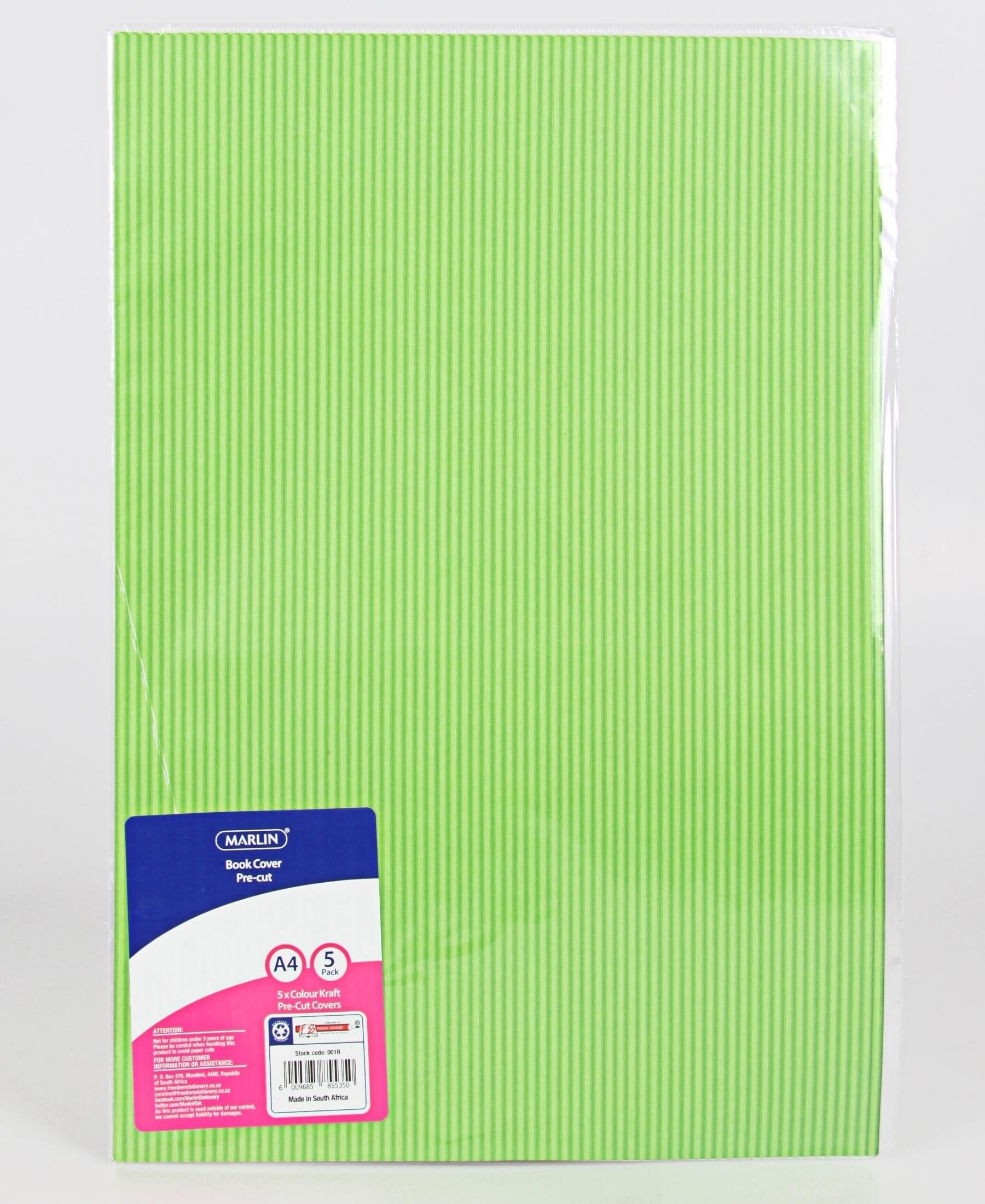 Marlin 5 Pack A4 Kraft Precut Book Covers - Green
