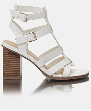 Strappy Block Heels - White