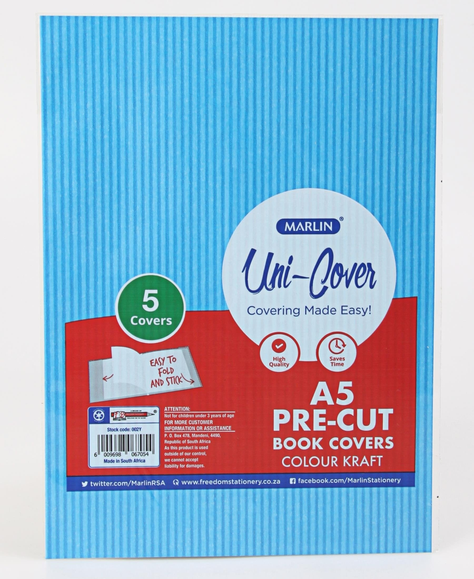 Marlin 5 Pack A5 Kraft Precut Book Covers - Blue