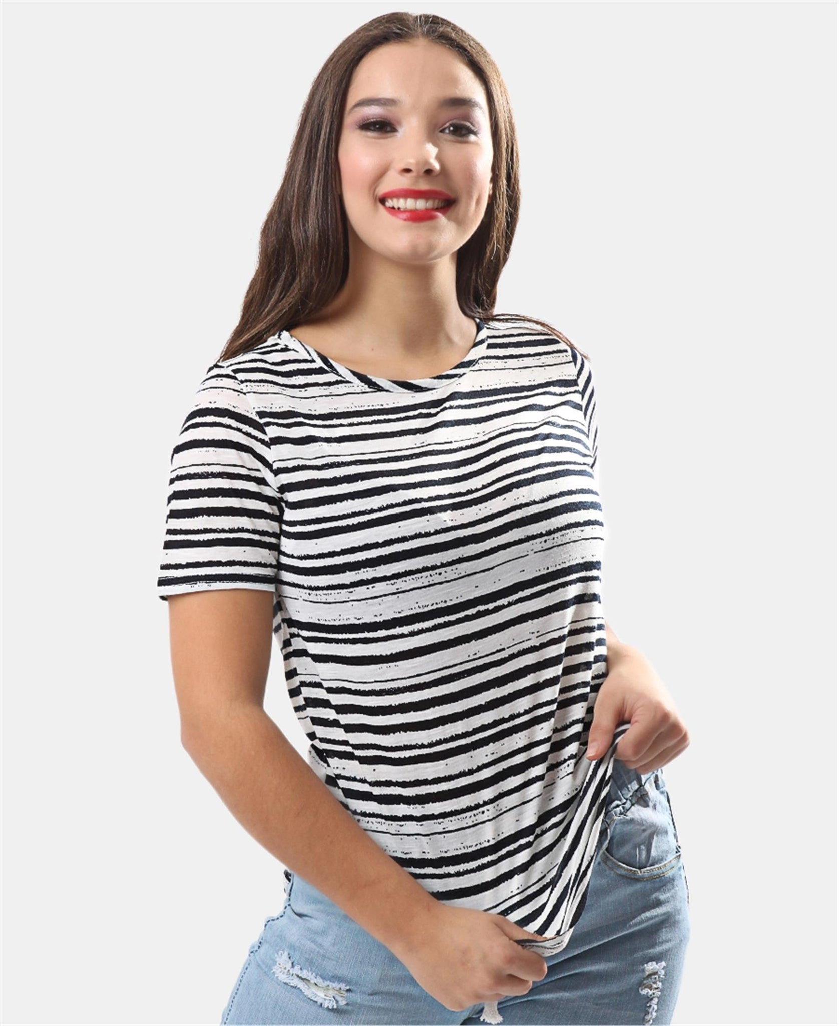 Striped Crew Neck T-Shirt - Black
