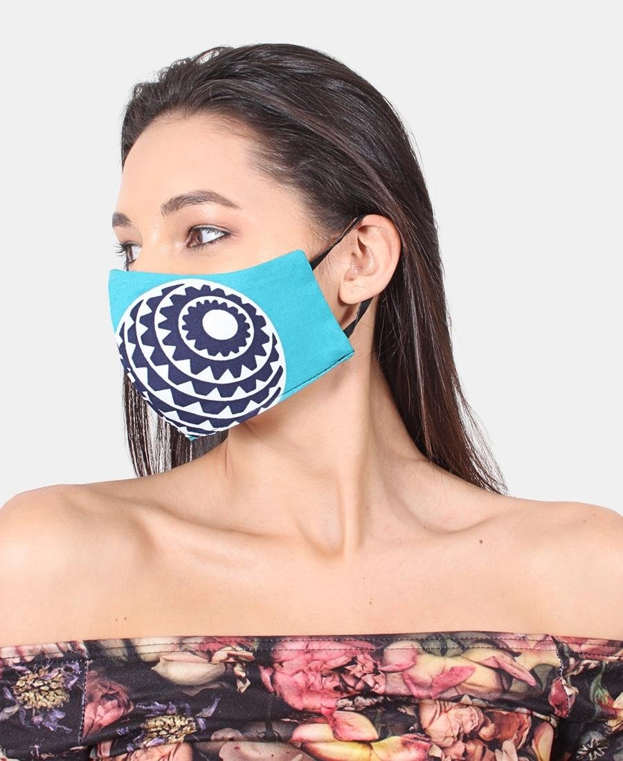 3 Pack Ethnic 3Ply Cotton Mask - Teal