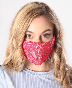 3 Pack 3 Ply Satin Lace Masks - Red