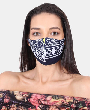 3 Pack Ethnic 3Ply Cotton Mask - Navy-White