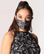 3 Pack 3 Ply Satin Lace Masks - Pink-Black