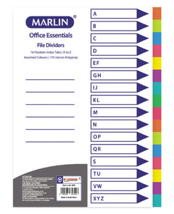 Marlin 16 Position A To Z File Dividers - Multi