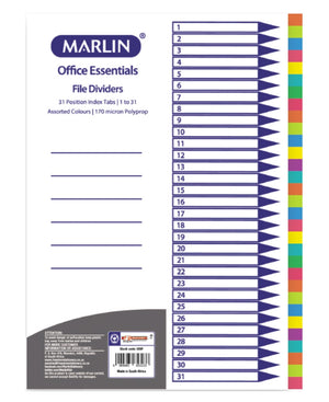 Marlin 1 To 31 File Dividers - Multi