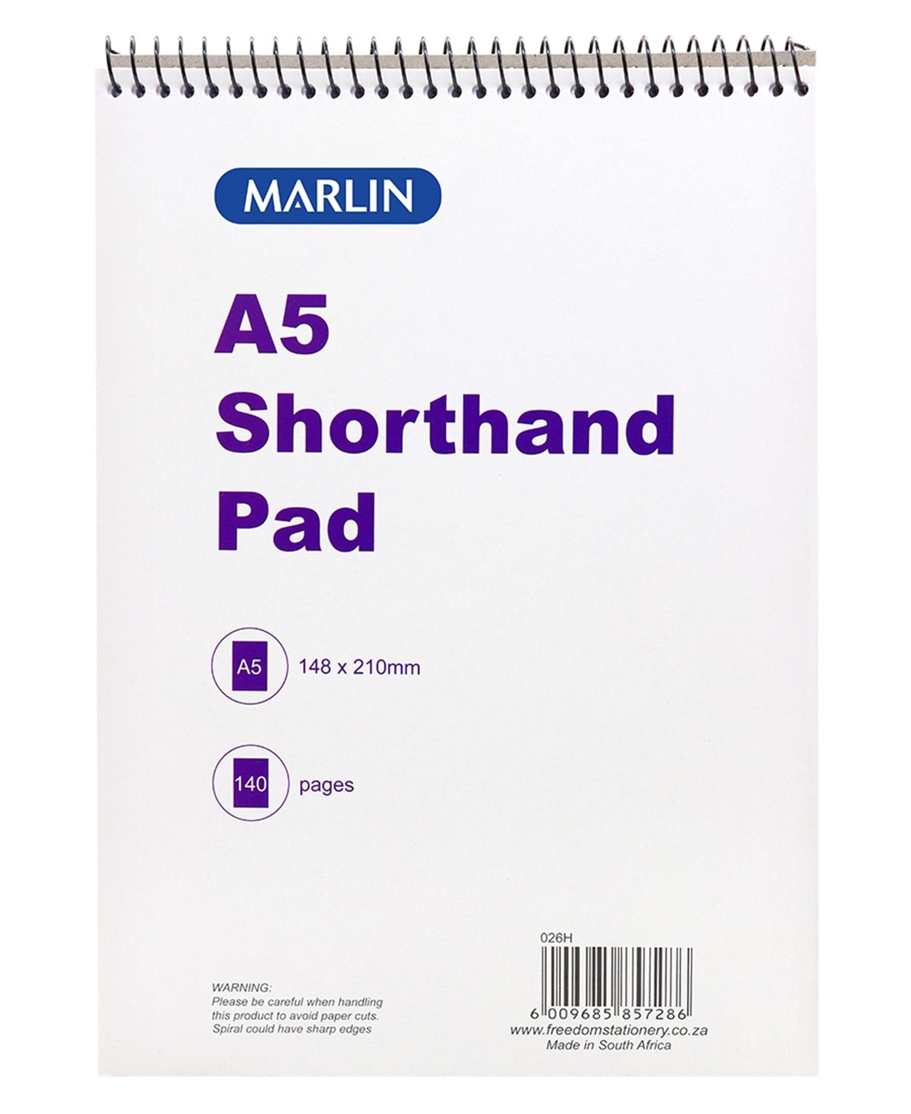 Marlin140 Pages Top Spiral A5 Shorthand Pad - White