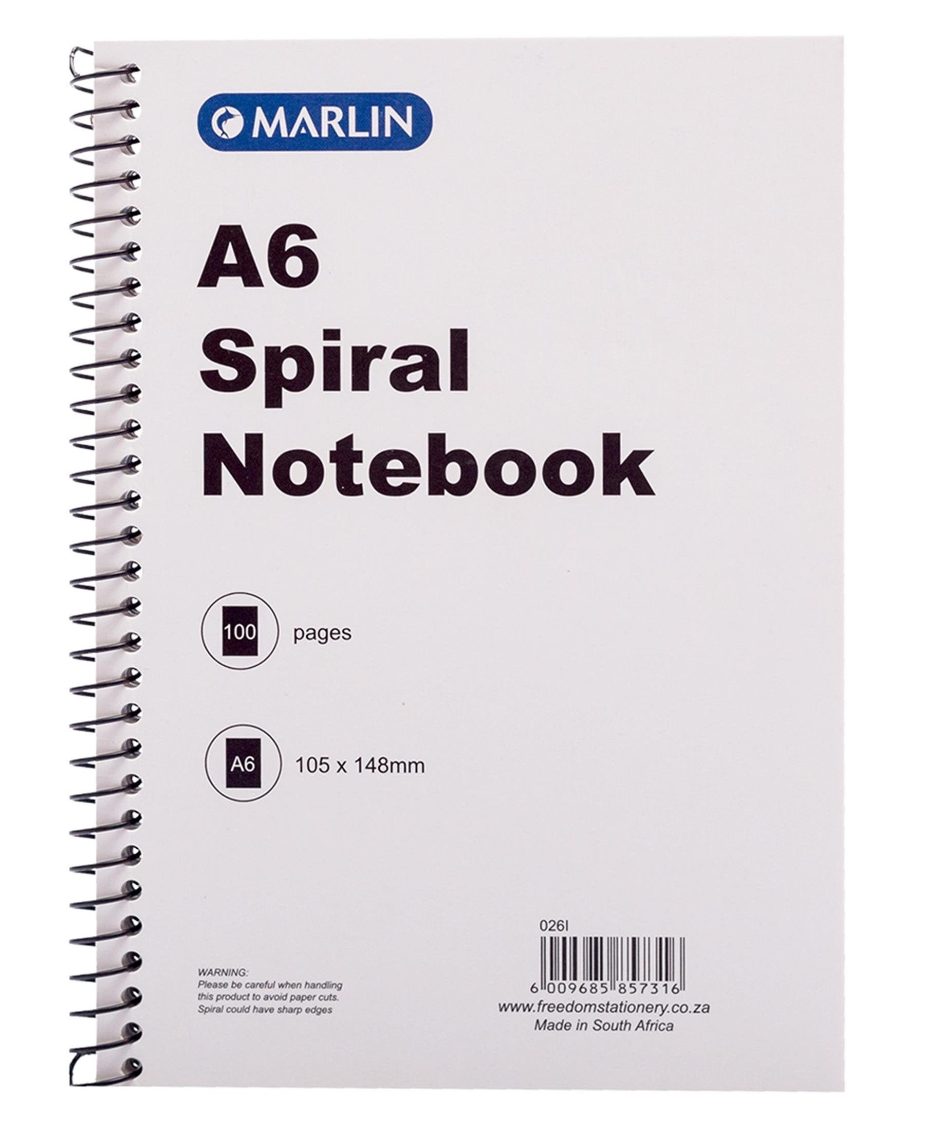 Marlin 100 Pages A6 Spiral Notebook - White