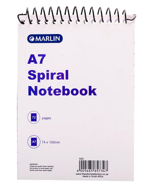 Marlin 72 Pages A7 Spiral Notebook - White