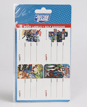 Justice League 8S Book Labels With Lines - Blue