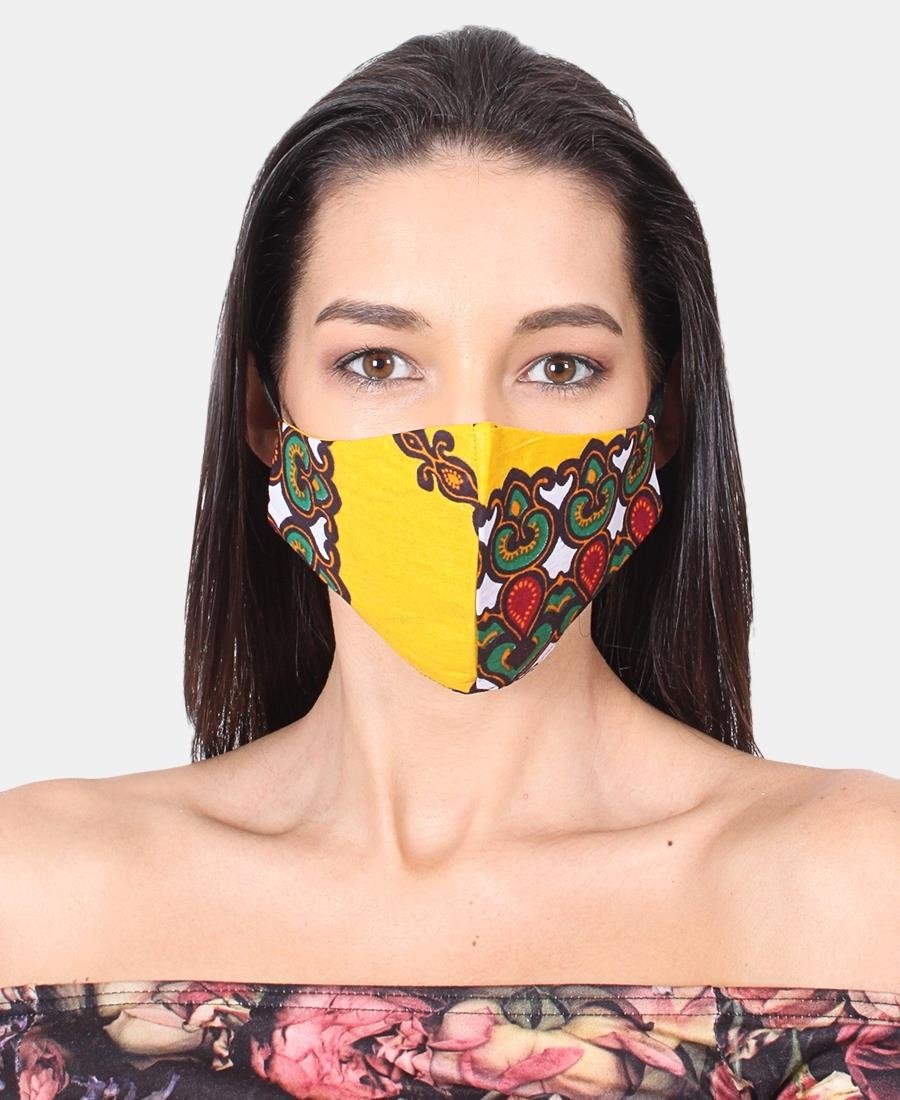 3 Pack Ethnic 3Ply Cotton Mask - Yellow