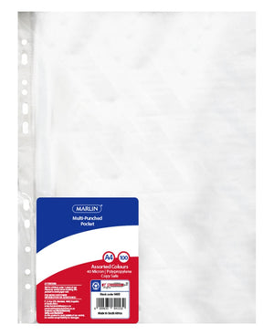 Marlin 100 Pack Filing Pockets - Clear
