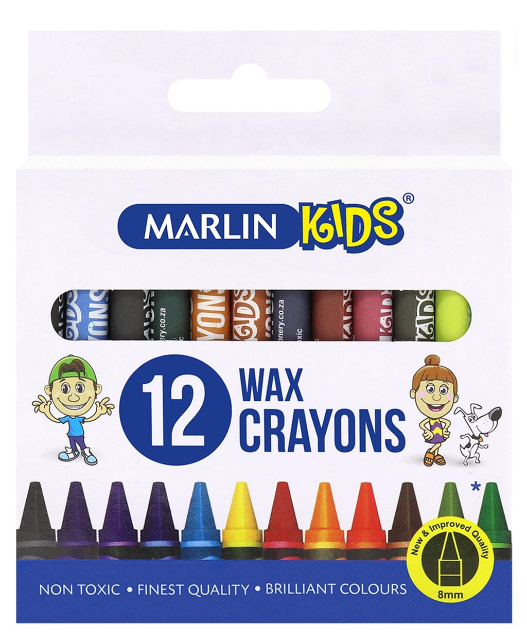Marlin 12 Pack Wax Crayons - Multi