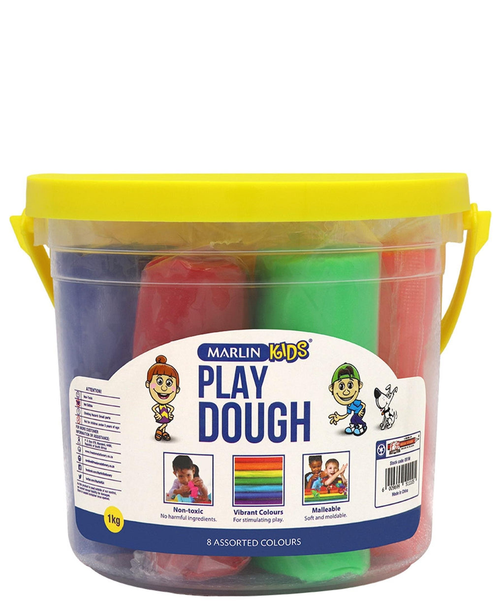 Marlin 8 Assorted Colours Play Dough Bucket - Multi