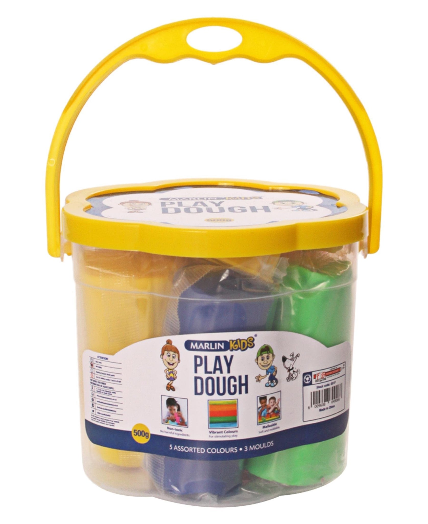 Marlin 5 Assorted Colours Play Dough Bucket - Yellow