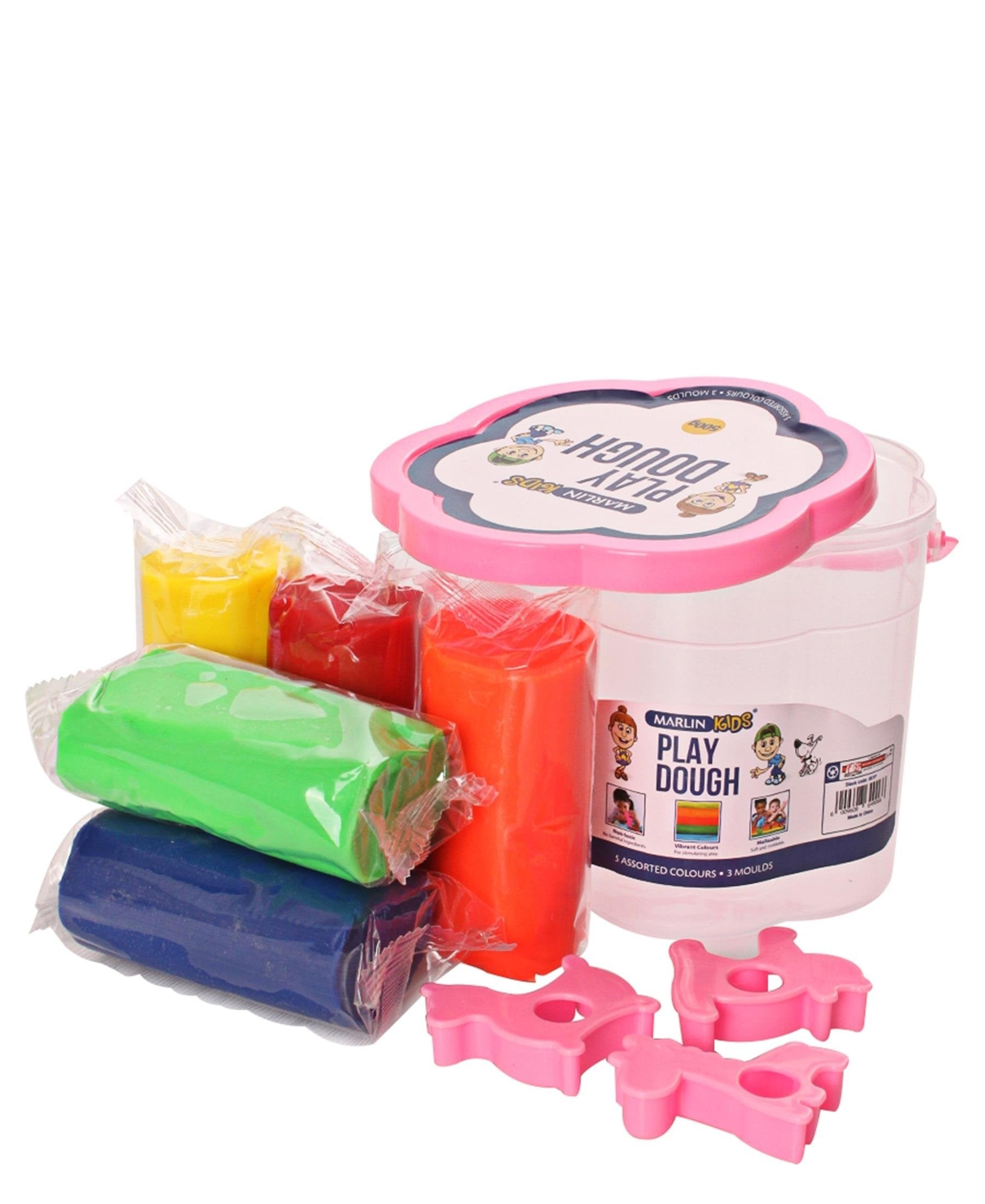 Marlin 5 Assorted Colours Play Dough Bucket - Pink