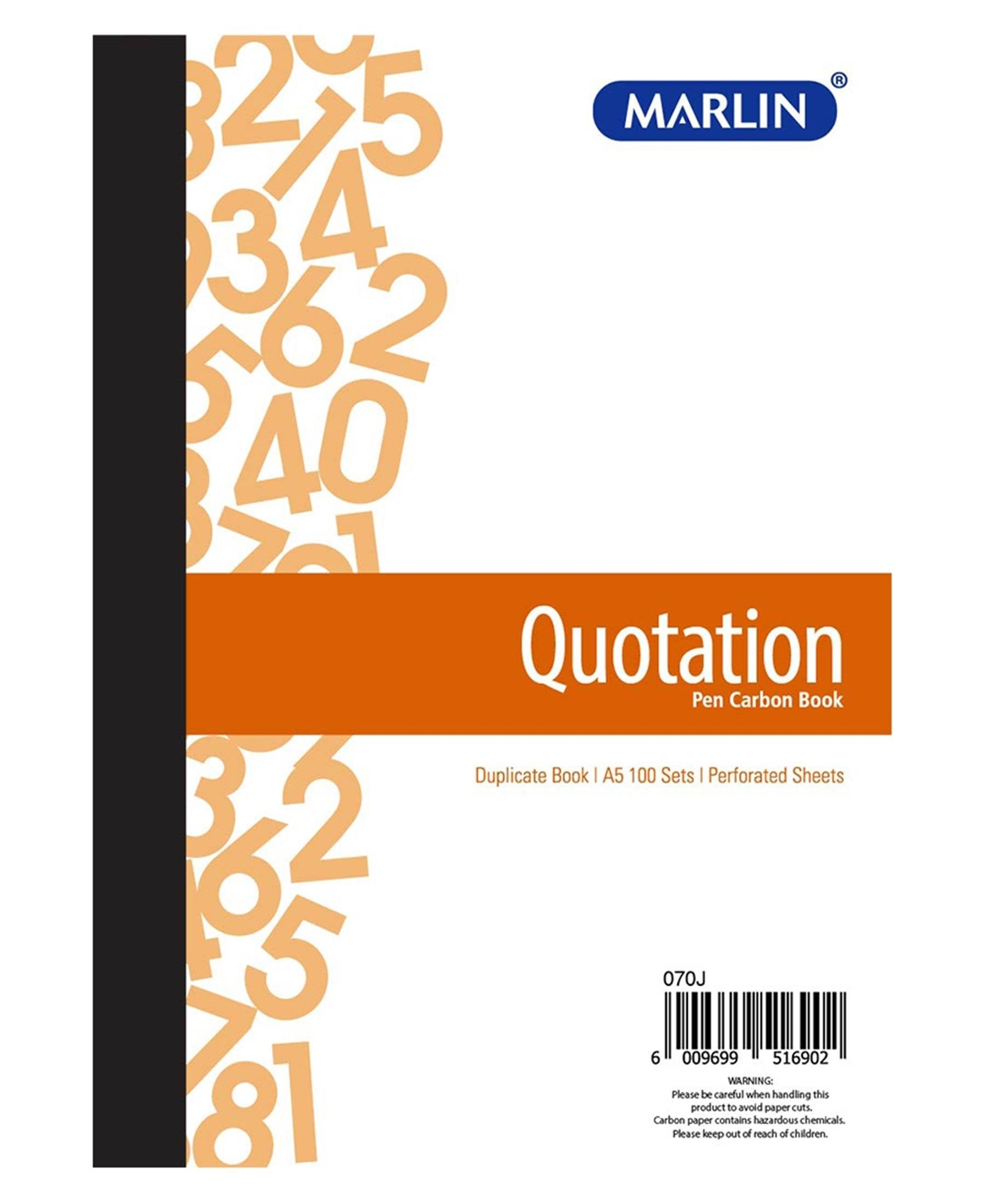 Marlin A5 Duplicate Quotation Book - Multi