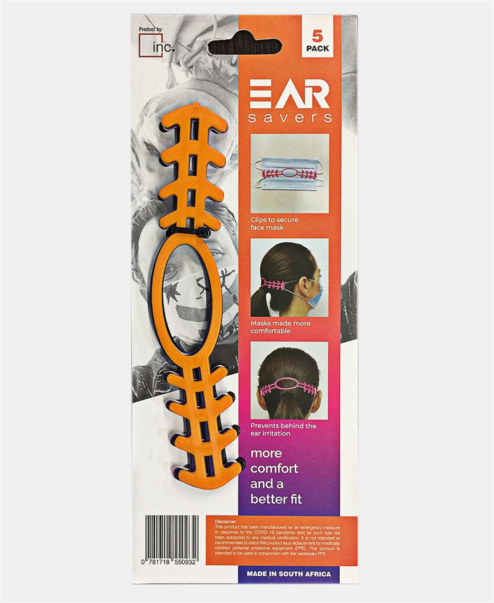5 Pack Adjustable Face Mask Ear Savers  - Multi