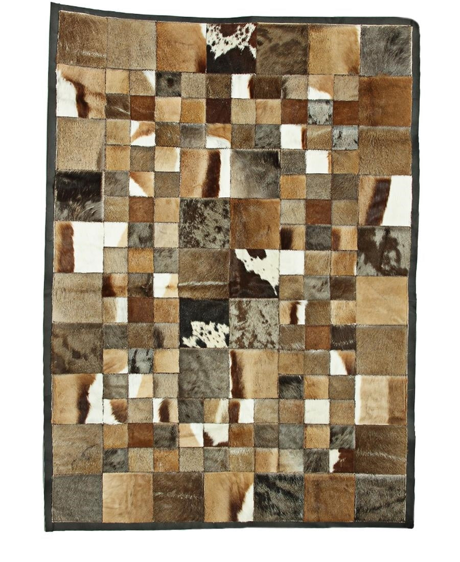 Patchwork Animal Skin Leather Mat - Brown
