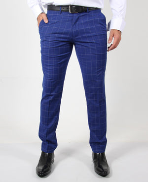 Men's 2 Button Check Suit - Royal Blue