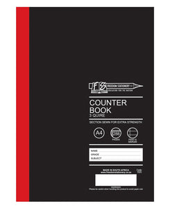 Freedom 288 Pages A4 3Quire Feint And Margin Counter Book - Black