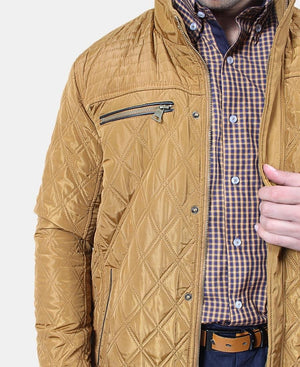 Men's Nylon Quilted Jacket - Mustard