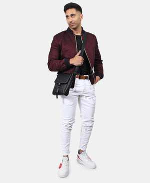 Men's Bomber Jacket - Burgundy