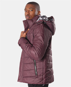 Men's Hooded Puffer Jacket - Burgundy