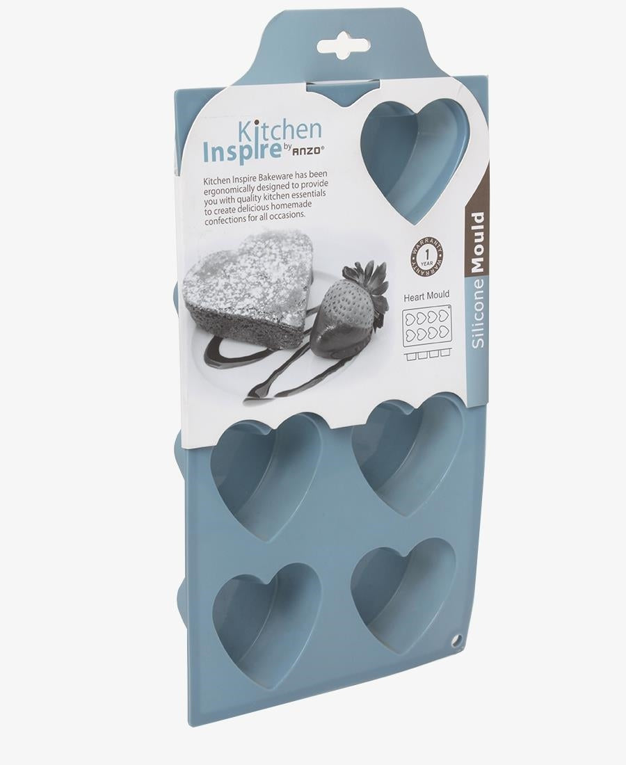 Kitchen Inspire Silicone 8 Hole Heart Mould - Blue