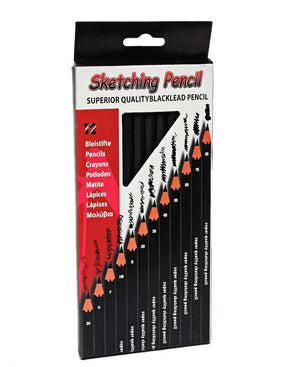 12 Piece Sketching Pencil - Black