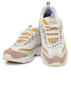 Ladies' D Lites Sneakers - White-Yellow