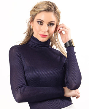 Ribbed Polo Neck - Navy