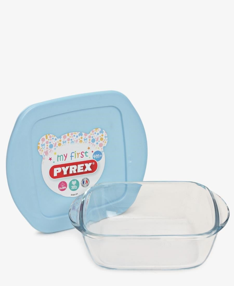Pyrex 350ML Square Dish With Lid - Blue